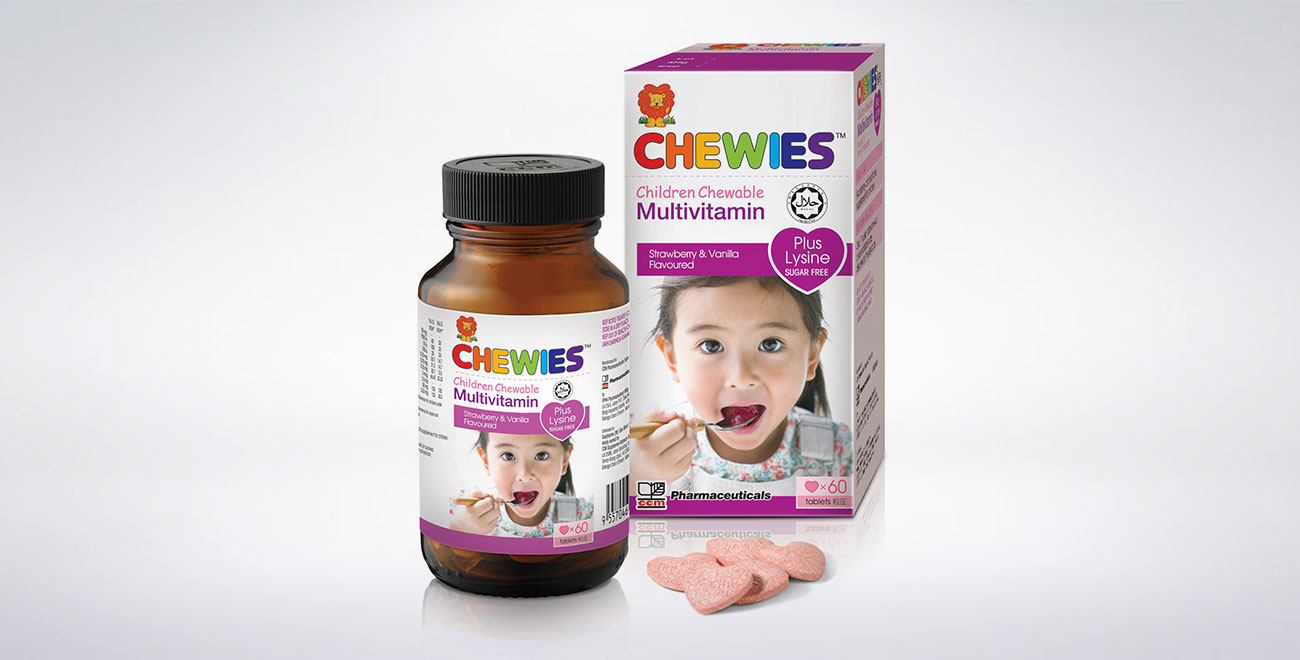 CHEWIES Multivitamin with Lysine Tablet SF (Strawberry)