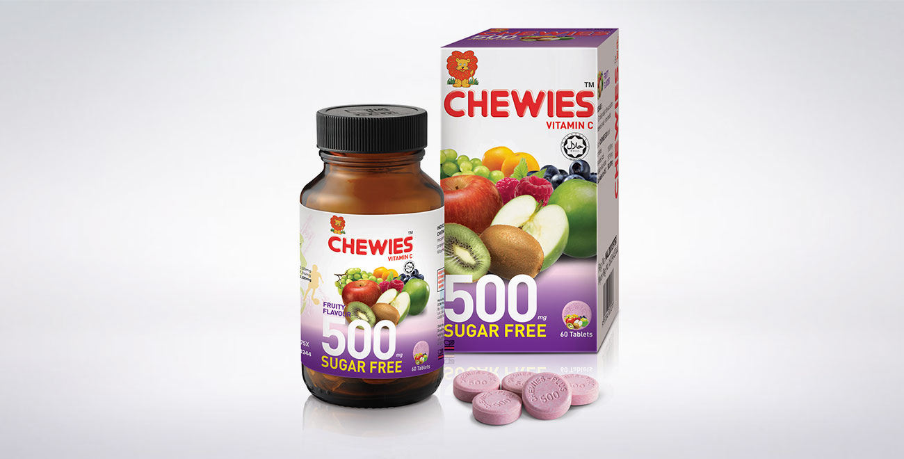 CHEWIES Vit C 500mg Tablet SF (Fruity)